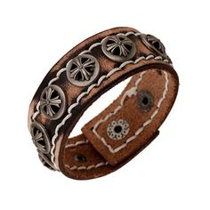 100% Real Cow Leather Men Cuff Bangle Bracelet Retro Flower Rivets Wri – ROSalarsJewelry