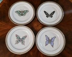 Royal Gallery Platinum Buffet Accent Butterfly Salad Plate Set of 4