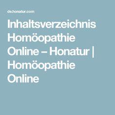 Inhaltsverzeichnis Homöopathie Online – Honatur   Homöopathie Online