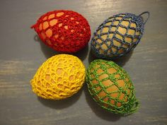 4 brightly coloured Easter egg cosies - crochet made in Australia
