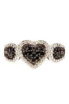 Silver Textured Halo & Black Diamond Ring