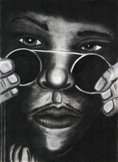 Jimi Hendrix 18x24 Charcoal & Chalk