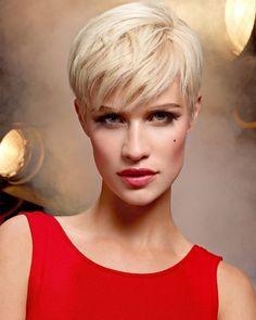 Amazing Pixie Cut Styles With Red Dress