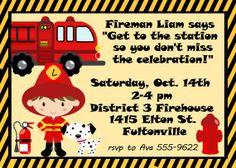 Child's Birthday Party Invitation  Fireman by celebrationspaperie, $11.00