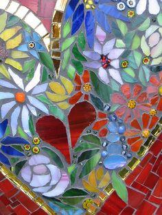 "Stone ""Blossom heart"" detail by Herzstücke Mosaic Mosaic Crafts, Mosaic Projects, Mosaic Art, Mosaic Glass, Mosaic Tiles, Tiling, Mosaic Windows, Mosaic Flowers, Mosaic Madness"