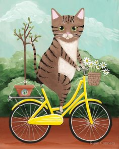 Earth Day Bicycle Ride Cat by Ryan Conners