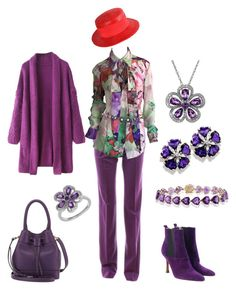 """""""This is for the ladies in the Red Hat Society"""" by karen-galves on Polyvore featuring Jil Sander, ESCADA, Dolce&Gabbana, Lanvin, Tory Burch, Givenchy, Lord & Taylor and Effy Jewelry"""