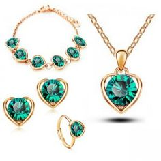 Retail Classical Wedding Gold Platinum Plated Heart Shape Austrya Crystal Pendant Necklace Stud Earring Bracelet & Ring