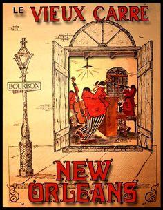 Art Print New Orleans Jazz, Le Vieux Carre affiche impression 8 x 10 Impressions des affiches de voyages dantan. Celui-ci a annoncé voyage à la Nouvelle Orléans pour le Jazz dans les années 1930/40 que je pense. Je sera la liste de plus de ces affiches de voyages dans les prochains jours - sil vous plaît vérifier à nouveau pour les nouveaux arrivants. Limpression sera denviron 20 cm X 25 cm et sera lourde 230gm lustre stock de format A4 afin que vous pouvez, si vous le souhaitez, glisser…