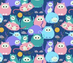 A litter of laissez-faire felines! fabric by vo_aka_virginiao on Spoonflower - custom fabric