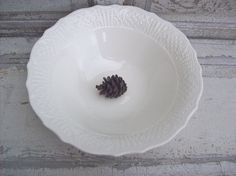 Creamy White Serving Bowl Large Pottery Hostess by rosebudshome, $31.00