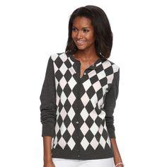 Women's Croft & Barrow® Ribbed-Trim Cardigan, Size: Medium, Dark Grey