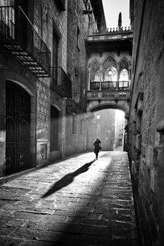 Shadows on the street in Barcelona, Catalunya. Black & White