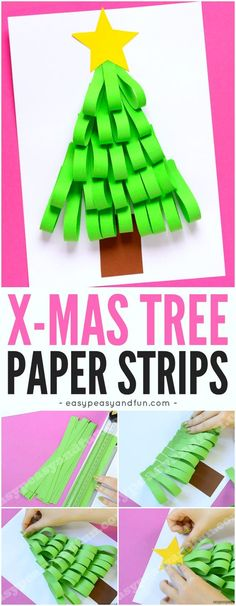 Paper Strips Christmas Tree Craft for Kids. A fun and simple idea perfect for kindergarten and preschool classroom.
