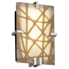 """Master:  Wouldn't these ben interesting!  Organic materila embedded in 3form Acrylic -  Clips Rectangle Wall Sconce by Justice Design Group - Width 8.5"""", Height 12.5"""", Depth 4"""" - $560 - nice tie in with oak"""