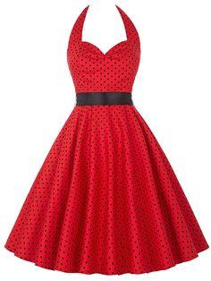 Vestido de llamarada de lunares-(Sheinside)