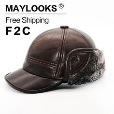 Maylooks 2017 New Fashion Men's Smooth Genuine Leather Baseball Winter Warm Baseball Hats / Caps 3colors In Free Shipping CS34