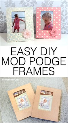 Easy DIY mod podge frames. Use any scrapbook paper to match your kid's bedroom decor!