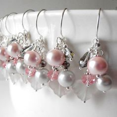 Pink and Gray Wedding Jewelry Beaded Bridesmaid by FiveLittleGems, $18.00