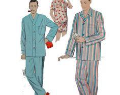 50s Vintage Mens Pajamas Pattern 40s 50s Mens Long Pajamas Mens Boxer Shorts Pattern Vintage Sewing Pattern ADVANCE 8217 Chest 38/40