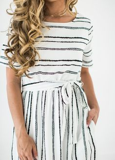 Crisp Striped Dress, JessaKae, Dress, Striped, White, Short Sleeve, Spring, Fashion, Style, Blonde, Hair, Curls