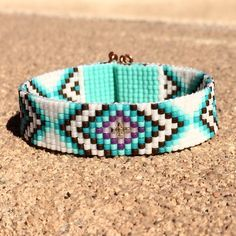 Tribal Diamonds Bead Loom Bracelet Bohemian Boho Artisanal Jewelry Indian Western Beaded Southwestern Turquoise Brown Santa Fe