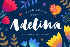 Adelina is modern calligraphy script that was painted in watercolor by soft brush. The basic principle of creation is striping of thick and thin lines.