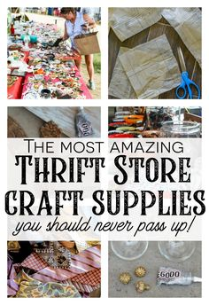 I'm a HUGE fan of getting your craft supplies at thrift stores, garage sales and flea markets. BUT, I may not be talking about the traditional craft supplies you are thinking about like glitter, Thrift Store Shopping, Thrift Store Crafts, Thrift Stores, Thrift Store Decorating, Online Thrift, Online Shopping, Diy Home Decor Projects, Craft Projects, Upcycling Projects