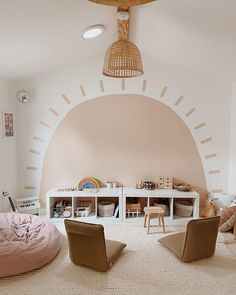 This playroom has happy vibes written all over it. LOVE the wall art, it's beyond cute for a kids room 🤩🤩🤩 (Home: @almostmakesperfect). Click the image to try our free home design app.  (Keywords: home decor kids, creative home decorating ideas, diy home decor kids, children room design, pattern interior design, childrens furniture, bedroom design, interior design ideas bedroom, interior color scheme, home decor ideas diy, bedroom home decor, neutral interior design, open shelving) Playroom Design, Playroom Decor, Kids Room Design, Baby Room Decor, Nursery Room, Kids Bedroom, Playroom Ideas, Playroom Color Scheme, Lego Bedroom