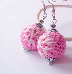 #pink #crochet #earrings