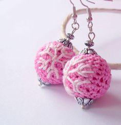 #pink #crochet #earrings