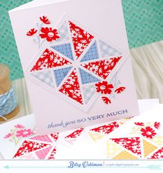 handcrafted cards using Quilt-Set of dies and stamps from Paper Trey Ink ... luv the patterns ...