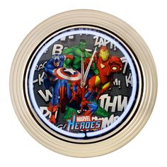Marvel Comics: Heroes Neon Clock- If New York is barely big enough for these superheroes, how can they fit in one clock?! Four of the biggest names in the Marvel Universe (our apologies to Howard the Duck) team up to make this clock a must have for your home, den, or Sanctum Sanctorum.