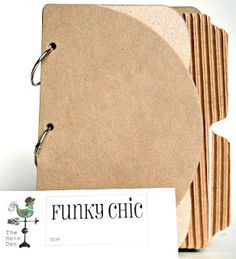 """INTRODUCING: Exclusive Hens' Den, """"Chic Albums"""" - """"FUNKY CHIC""""   - measures 8.5 x 6.5 Total of 7 pages: includes 1 - 1/2 circle cover, 2 scroll, 2 corregated tabbed, 1 burlap or canvas, 1 scallop as back cover (Burlap/canvas varies upon availability)."""