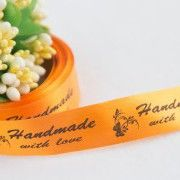 ТОЛЬКО У НАС! Лента сатин желто-оранжевый Handmade 15*45мм/10шт