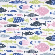 A fun design of colourful fish perfect for those of you lucky enough to live by the sea. Or those who dream to live by the sea. Make curtains, blinds, tablecloths, napkins or anything else you like to have these little fishes swimming on. 50% Cotton & 50% Linen Width 148cm Pattern Repeat 21cm