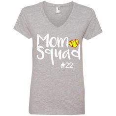 T-Shirts - Personalized - Ladies' V-Neck Tee - Mom Squad Softball