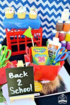 What a fun and colorful back to school party! See more party planning ideas at CatchMyParty.com!