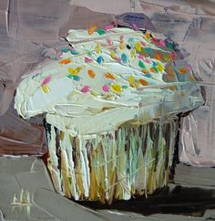Cupcake with Sprinkles no. 3 original still life dessert oil painting by Moulton 5 x 5 inches on panel  prattcreekart