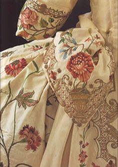 Historical note: Exquisite embroidery on a silk gown circa 1770's.