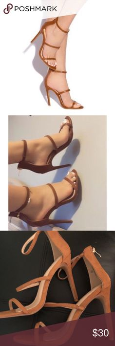 Lola Shoetique Tan Risky Behavior Strap Heels NWT! Never worn only tried on. I wear a 8 these are a 8.5 and the half size up makes them too a tad too loose on me! I really wanna get rid of these cause there's no chance I'd wear the since I can't make my feet grow😂 price is firm! Purchased from Lola Shoetique Liliana Shoes Heels