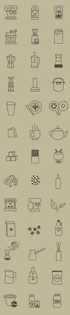 카페 커피 제조 아이콘 40개. AI