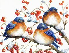 christmas watercolor cards | Bluebird watercolor Christmas cards. | A little birdie told me