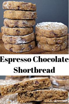 Espresso Chocolate Shortbread Cookies are melt-in-your-mouth buttery shortbread made even better with added espresso and chocolate! Cookie Desserts, Just Desserts, Cookie Recipes, Delicious Desserts, Dessert Recipes, Yummy Food, Cookie Cups, Tasty, Chocolate Shortbread Cookies