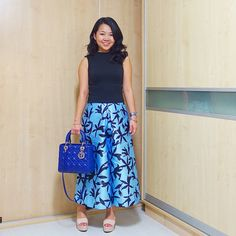 Lady DIOR royal blue bag | CMEO COLLECTIVE culottes | instagram: @quennandher | https://instagram.com/quennandher Street Style. Look of the day. Outfit of the day.