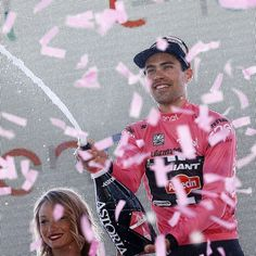 Tom Dumoulin on the podium after winning stage 1 of the 2016 Giro d'Italia