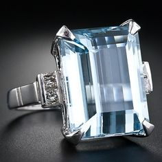 Estate Aquamarine and Diamond Ring