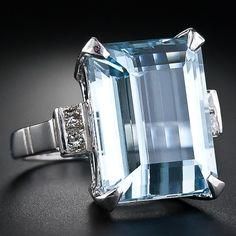 Estate Aquamarine and Diamond Ring