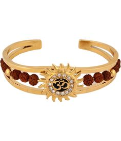 Buy The Jewelbox Rudraksh American Diamond Gold Meena Om Sun Men Cuff K... from Snapdeal