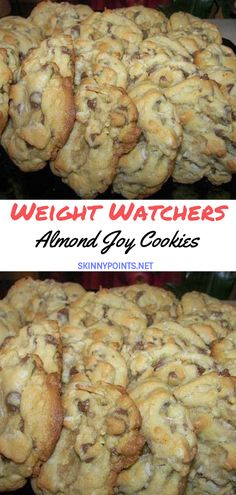 Weight Watchers Almond Joy Cookies , Amazing cookies loaded with chocolate chips, almonds and coconut. Ww Desserts, Cookie Desserts, Dessert Recipes, Dessert Ideas, Weight Watcher Cookies, Weight Watchers Desserts, Weight Watchers Sugar Cookie Recipe, Almond Joy Cookies, Keto Cookies